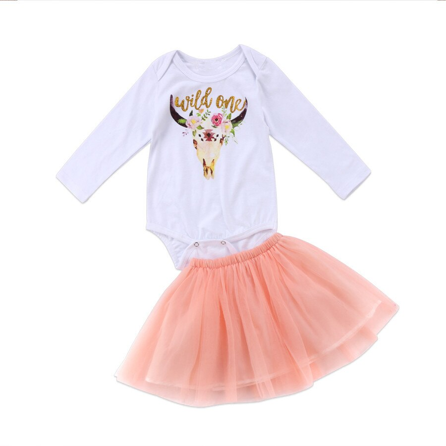 Body de bebé + conjunto de falda de tul/monos de unicornio con mangas largas/salvaje