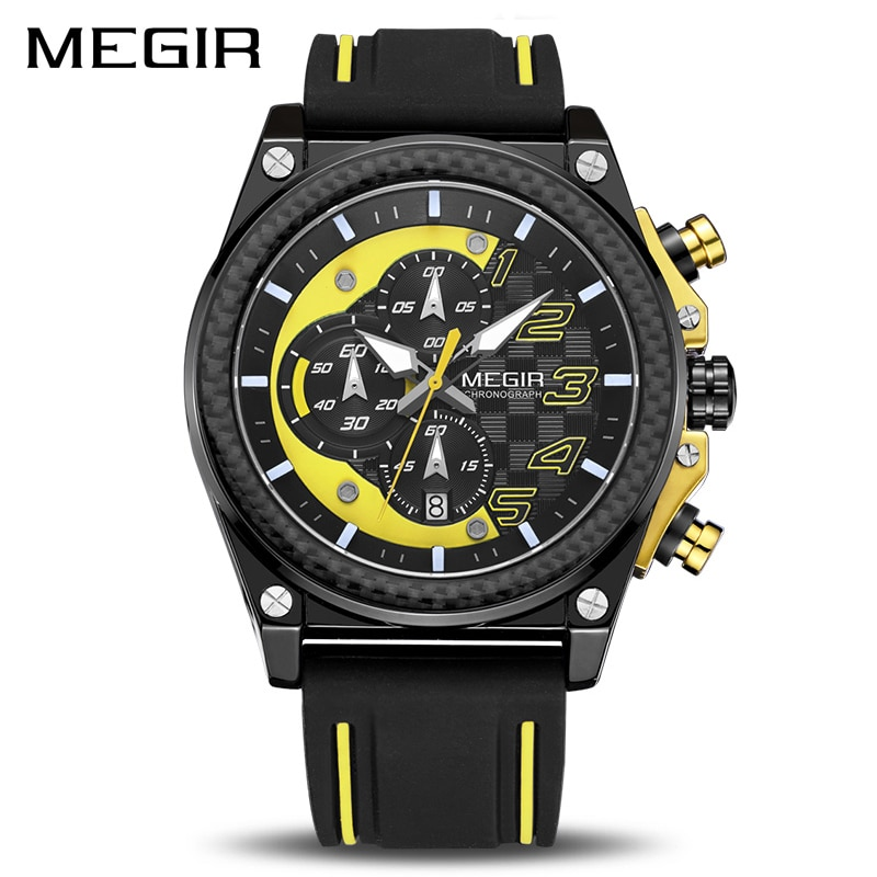 الإبداعية MEGIR كرونوغراف الرياضة ساعة الرجال سيليكون الجيش العسكرية ساعات المعصم ساعة الرجال العلامة التجارية الفاخرة Relogio Masculino