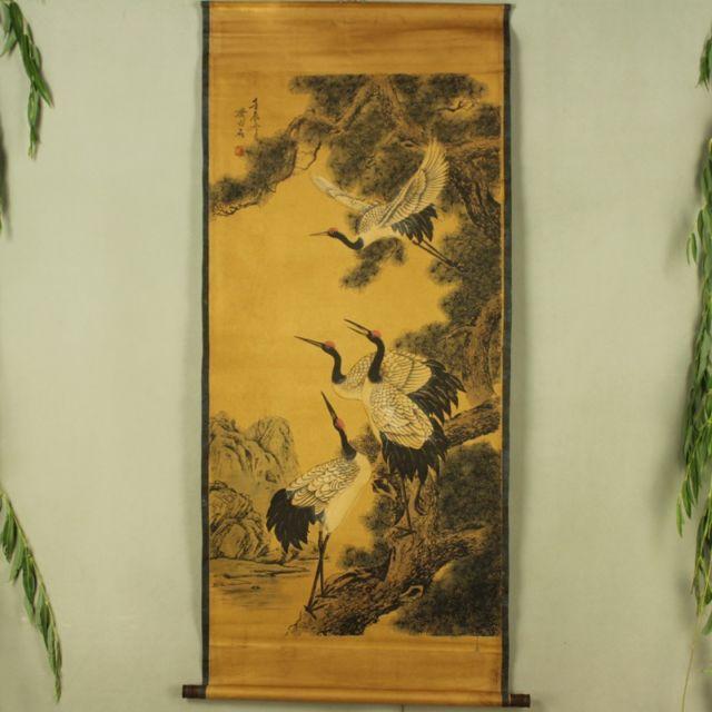 Colección China de caligrafía antigua y pintura Diagrama de cuatro grúas