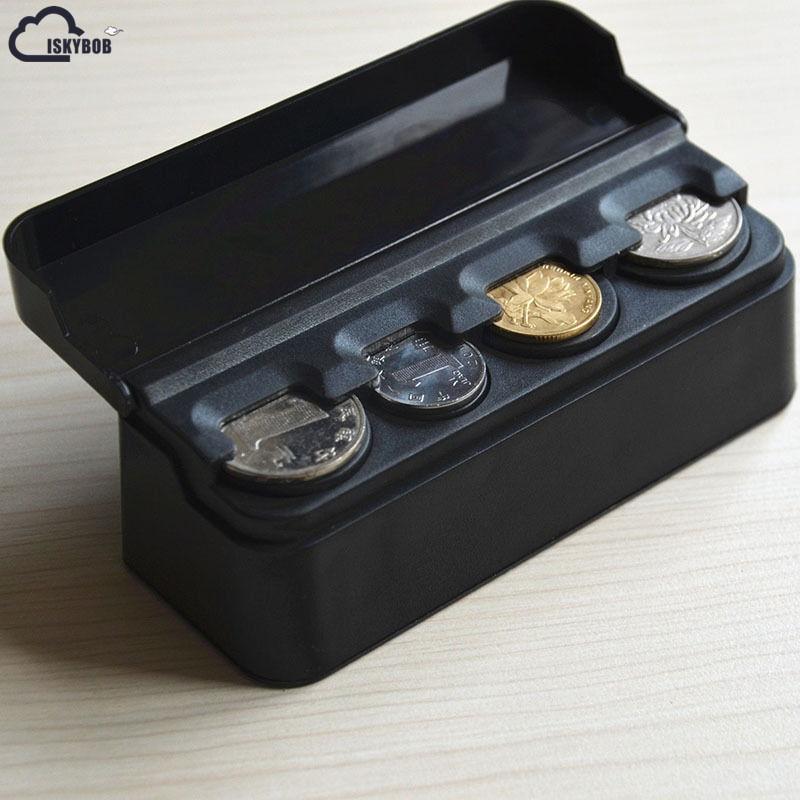 ISKYBOB Car Auto Storage Coin Money Holder Change Organizer Box Travel Piggy Bank Black