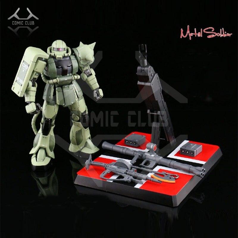 Comic club em estoque ms metal soldado mb 1/100 metal construir gundam verde zaku ii liga robô de alta qualidade figura de ação