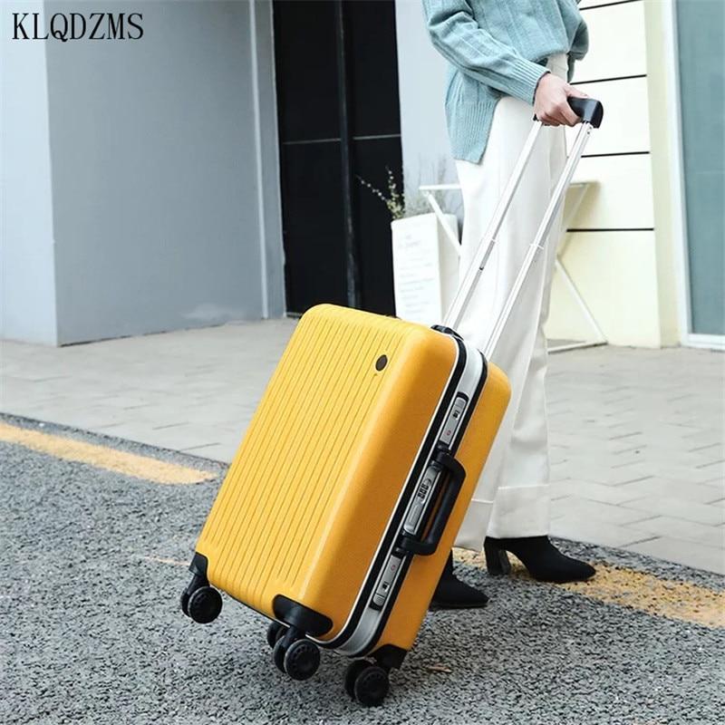 KLQDZMS 20/24 pulgadas marco de aluminio + pc equipaje rodante 20/24 pulgadas maleta de viaje spinner bolsa en la rueda