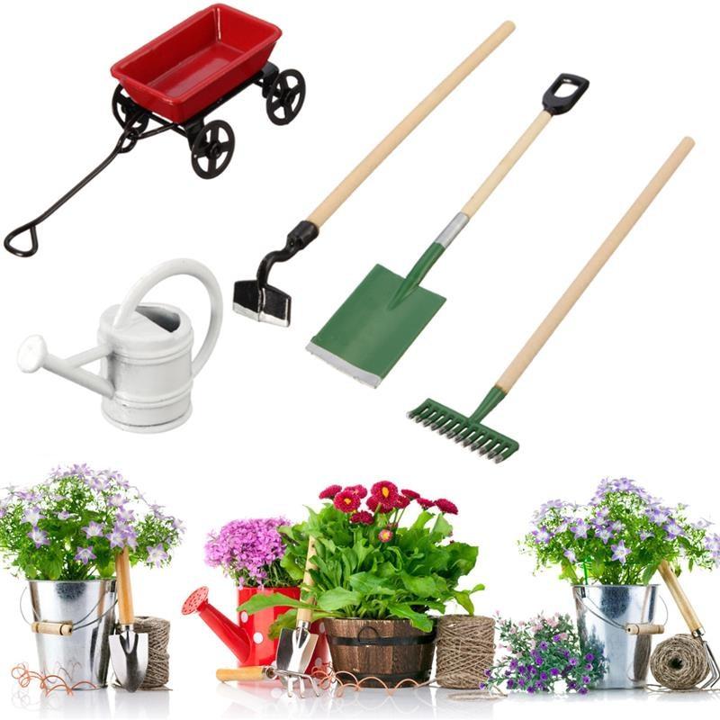 JIMITU DIY Miniature Metal Garden Tools Toys Watering Can Pulling Cart Spade Rake For Children Pretend Toys Accessories Set