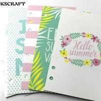 KSCRAFT 6 Holes A6 I Love Summer Planner Divider Loose Leaf Notebook Spiral Planner Refill Inner Paper Pages