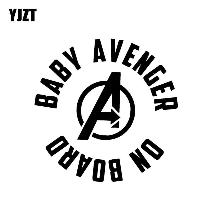 YJZT 13.1cm*13cm BABY AVENGER ON BOARD Funny Safety Vinyl Car Sticker Decal Sign Black Silver C10-00629