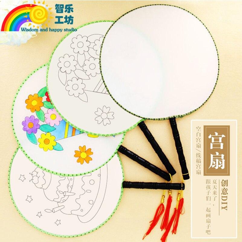 Сделай Сам раскрашенный пустой ручной вентилятор, японские круглые вентиляторы для детей, детская живопись, белый Шелковый веер, художеств...