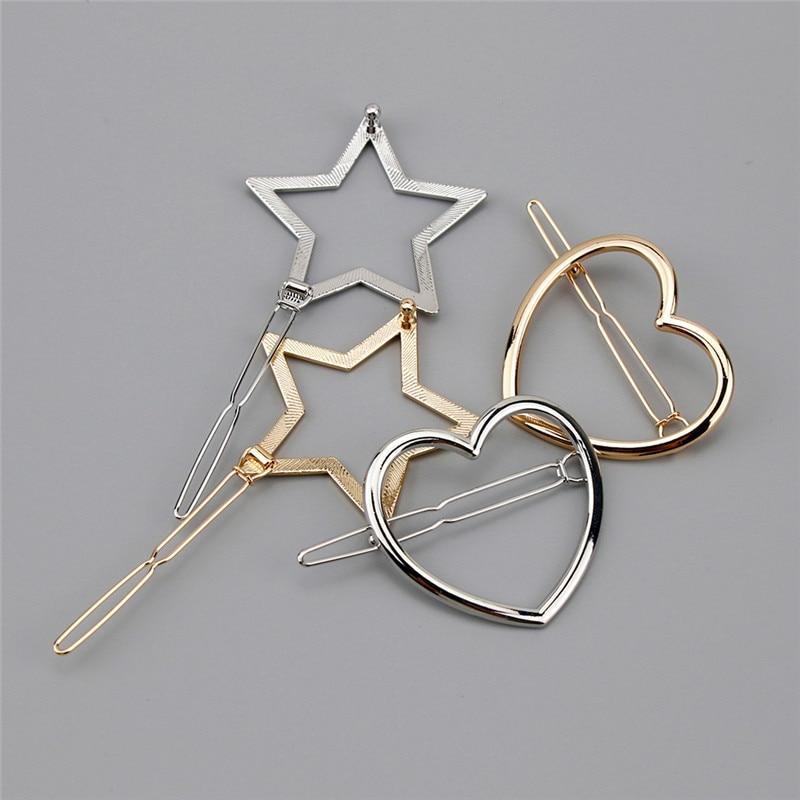 1 pieza nueva moda mujeres niñas horquillas niñas estrella corazón Clip pelo delicado Pin pelo decoraciones joyería Accesorios