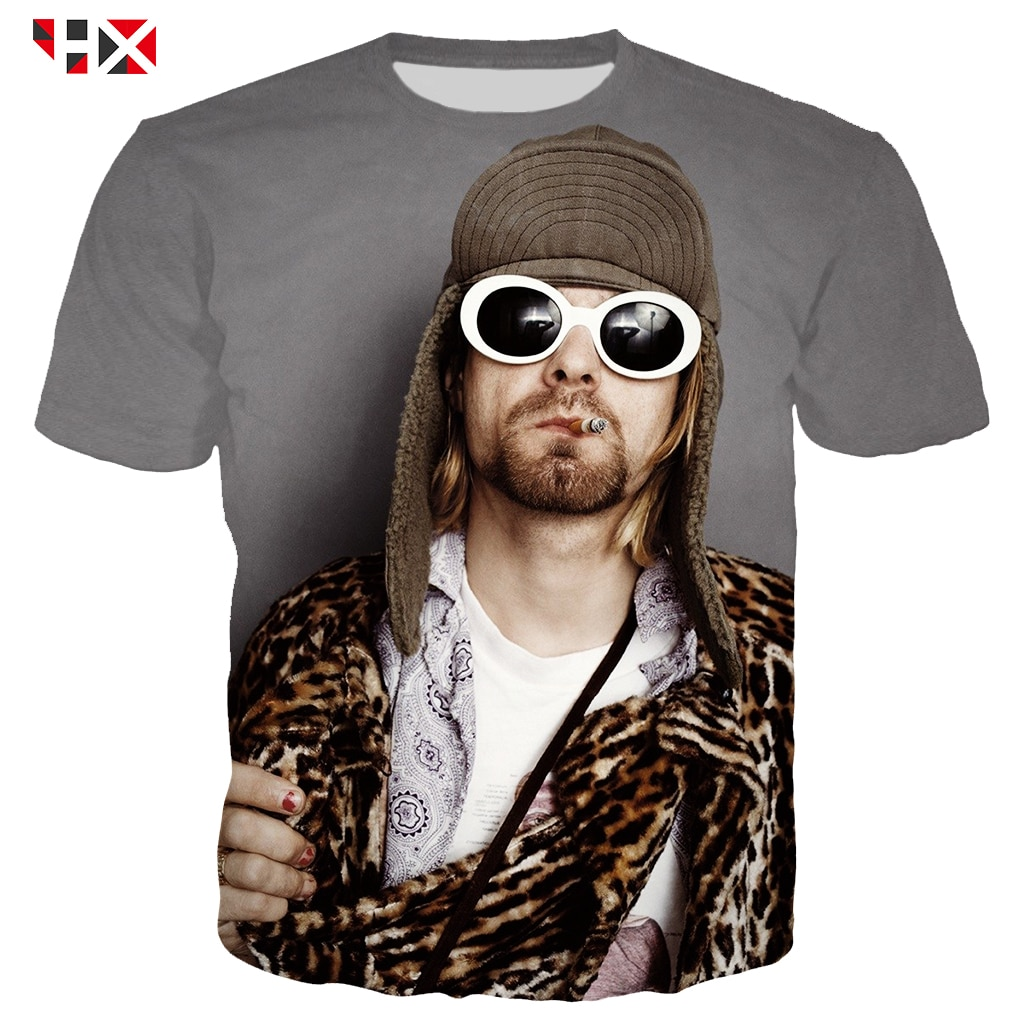 Camiseta de verano para hombre, 3D Camiseta con estampado de cantante, camiseta de estrella de Kurt Cobain Donald, camiseta de manga corta para hombres y mujeres, camisetas de calle Harajuku S18
