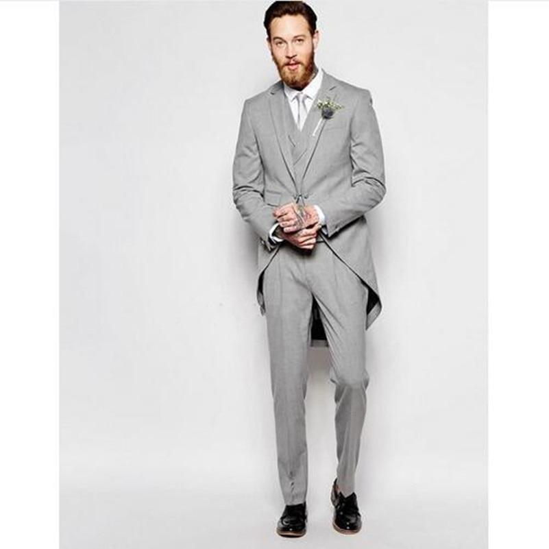 Новое поступление, Серый Свадебный костюм, мужские костюмы с вырезом на лацкане, изготовленные на заказ, лучший деловой смокинг (пиджак + брю...