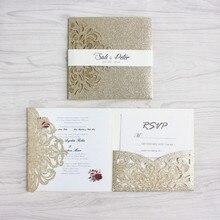 De lujo de oro boda invitación con RSVP sobre vientre banda tri-bolsa plegable invita a la decoración de la boda de alimentación envío gratis