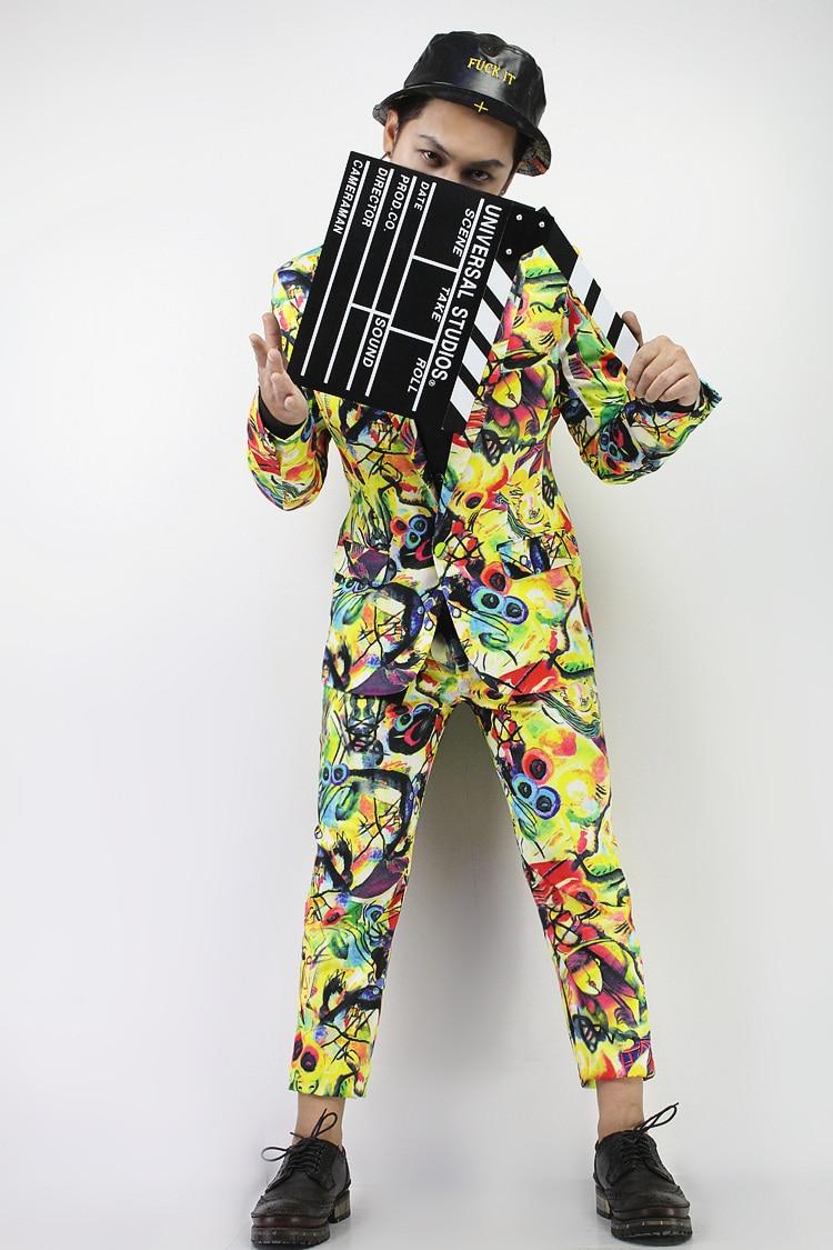 S-5xl gran oferta de hombres de marca de nueva moda de grafiti abstracto Impresión de traje trajes de actuación para cantantes de los hombres vestido estilo grafiti trajes