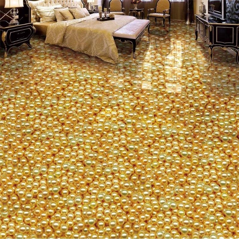 beibehang Custom photo floor painted to paste the luxury countless golden pearl HD flooring papel de parede 3d para sala atacado