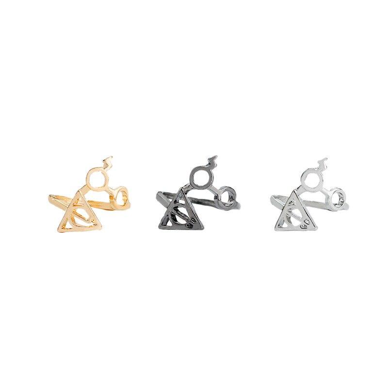 Joyería de declaración reliquias de la muerte gafas Harry anillo de apertura Simple parejas Potters anillos para Mujeres Hombres regalos de boda