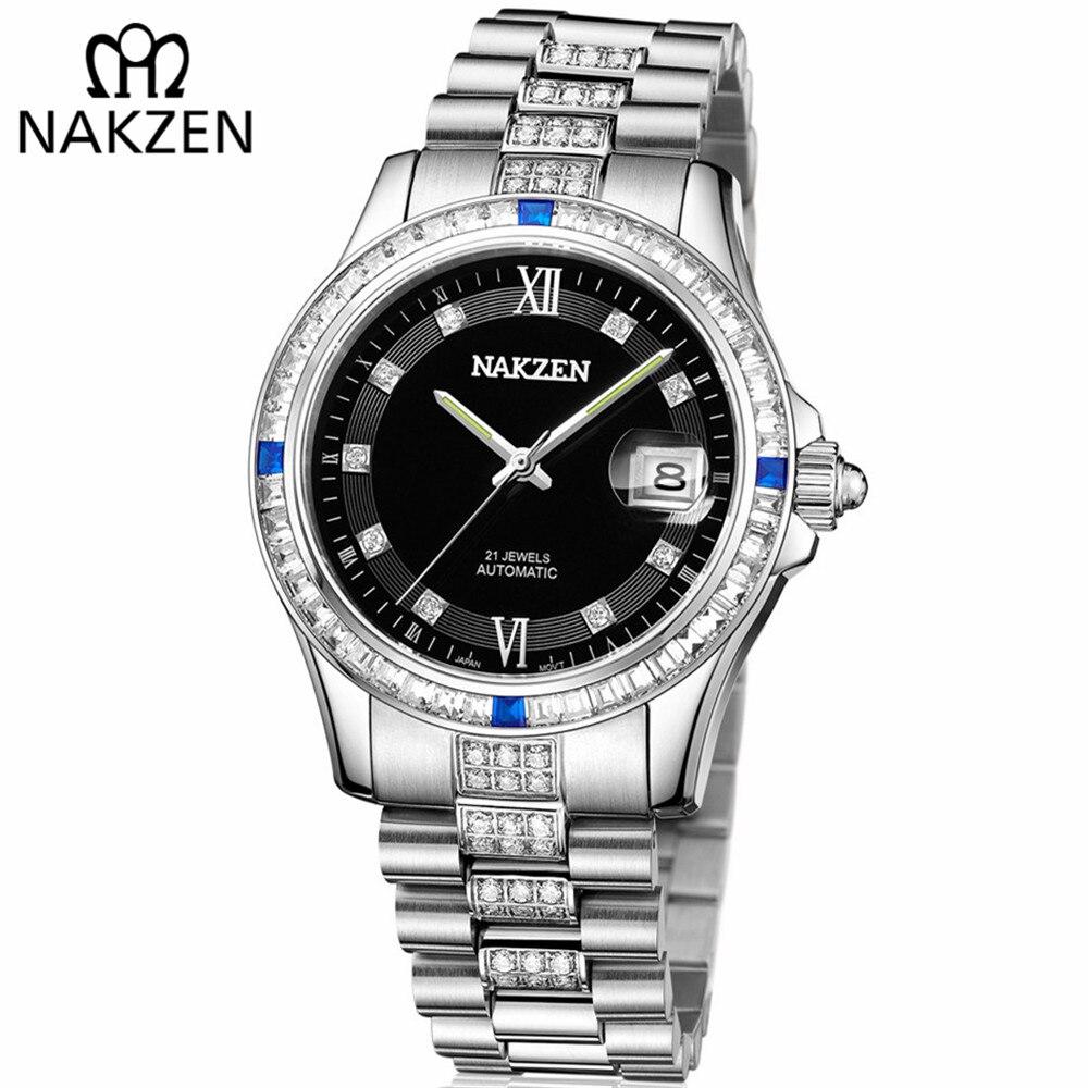 NAKZEN hombres Japón NH35 movimiento automático mecánico reloj elegante diamante Acero inoxidable pulsera Relojes Relogio Masculino