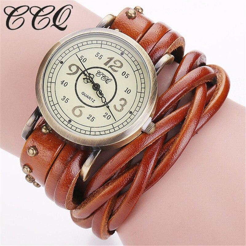 Ccq marca de moda vintage retro rebite trançado pulseira couro genuíno relógio casual feminino relógio quartzo relogio feminino 1513