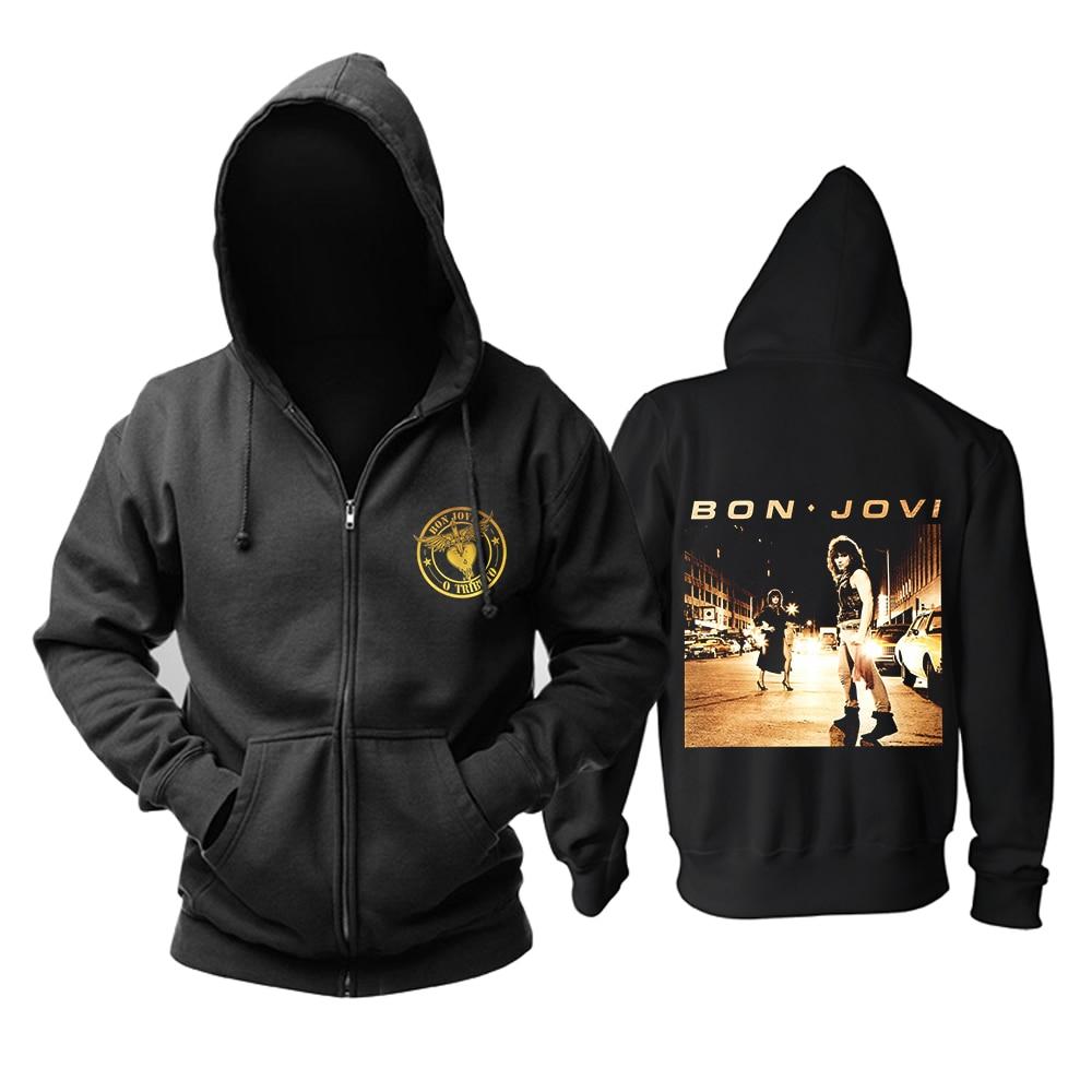 Sudadera con capucha y cremallera negra de Bloodhoof BON JOVI BAND pop rock talla asiática