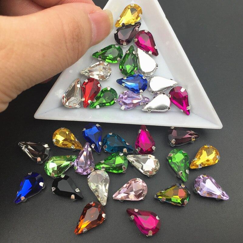 Garra de cristal de plata 5*8mm 6mm 6*10mm 8*13mm gota de agua forma de pera colores de fantasía mezcla coser en cuentas de diamantes de imitación hecho a mano diy