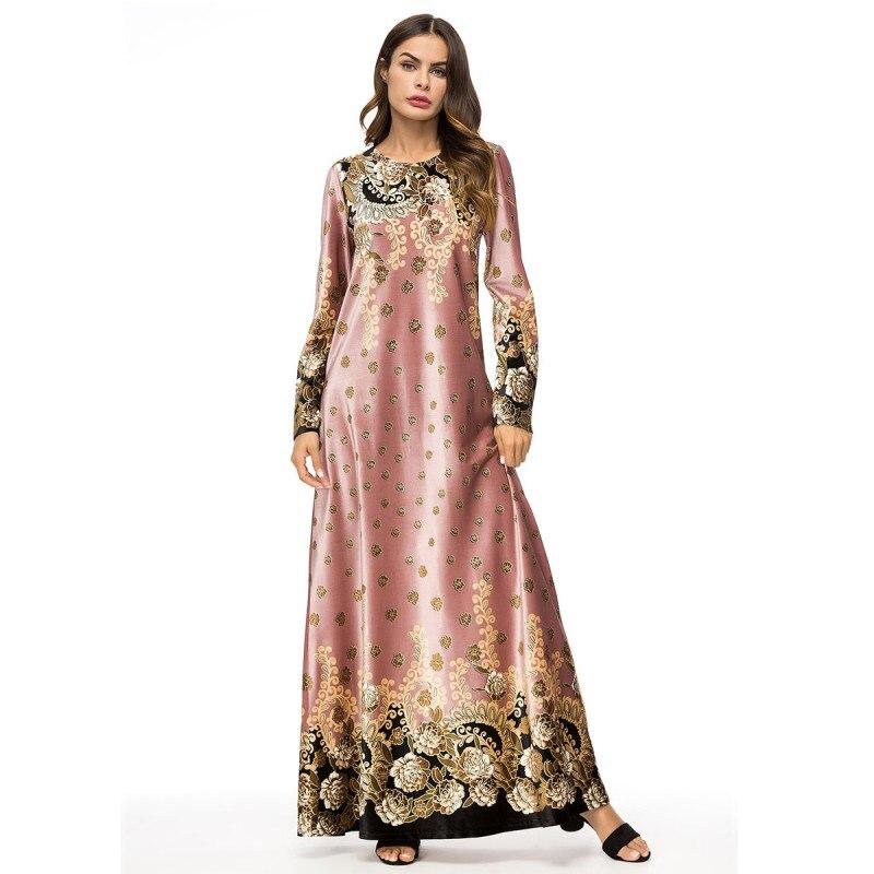 YSMARKET Vestido largo de talla grande primavera elegante mujer elegante estampado vintage musulmán vestidos Rosa real ropa de Ramadán estilo étnico