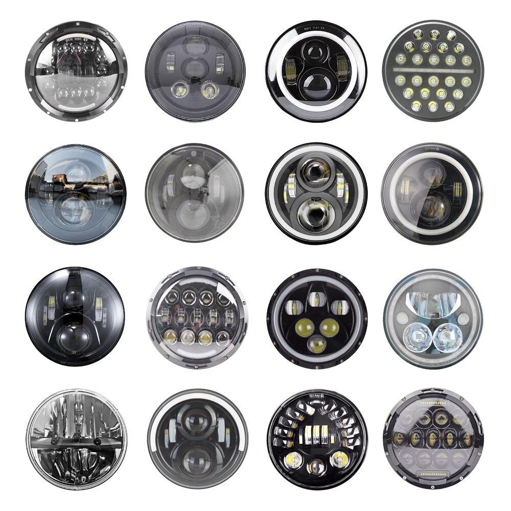 2xLada Niva Urban 7inch Led Headlight Hi/Low H4 Light Halo Angle Eyes DRL Headlamp For Jeep Wrangler Off Road 4x4 suzuki samurai