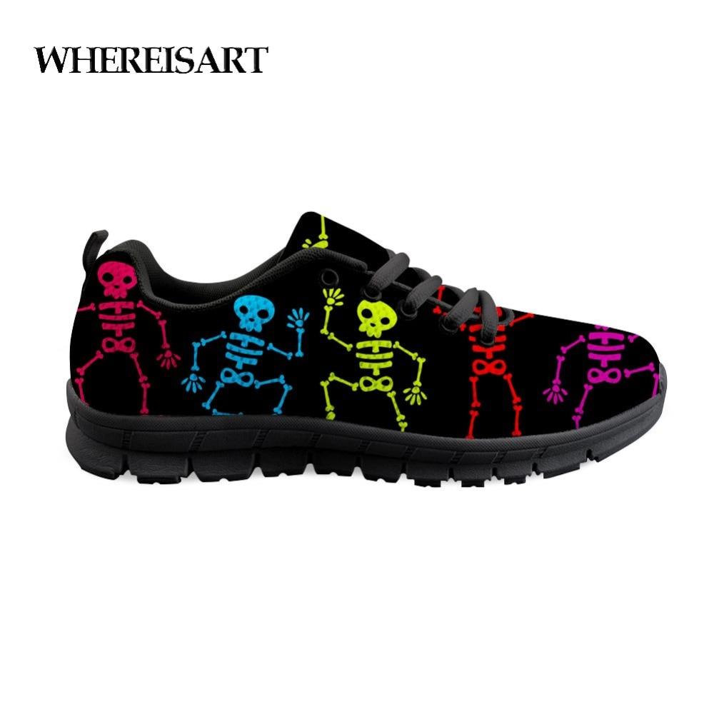 Feelisart-أحذية رياضية برباط للرجال ، أحذية مطبوعة بهيكل عظمي ، مع توسيد ، أحذية مشي مسطحة ، أحذية الخريف للمراهقين
