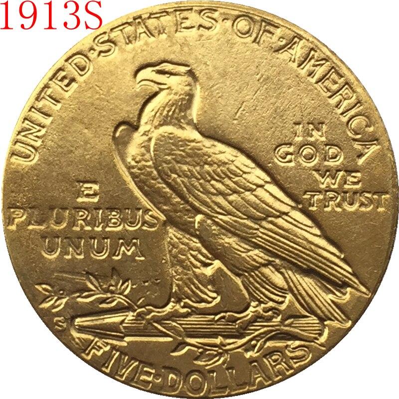 24-K oro plateado 1913-S $5 oro indio Mitad de águila copia de moneda envío gratis
