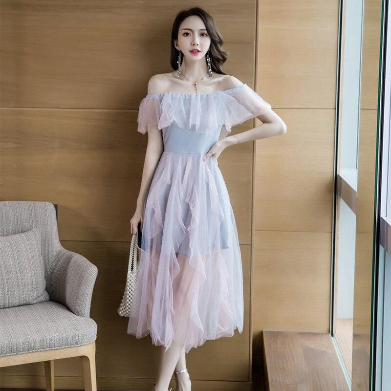 Moda mujer cómodo elegante malla perspectiva vestido nuevo llegada temperamento fiesta lindo fuera del hombro sexy a-line vestido