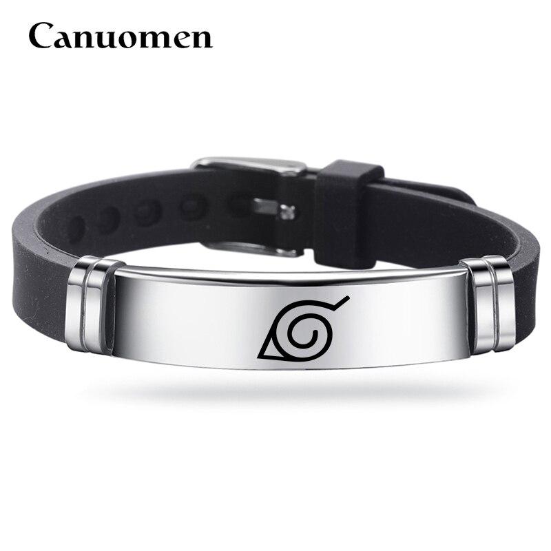 Canuomen brazaletes Naruto 4 estilos de moda pulsera de acero inoxidable pulsera de plata Pulsera de reloj ajustable regalos brazaletes