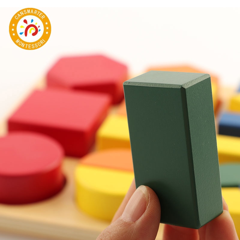 Baby Toy Montessori Wooden Assembly Geometric Shape Tray Math Teaching Aids Geometric Blocks Early Education