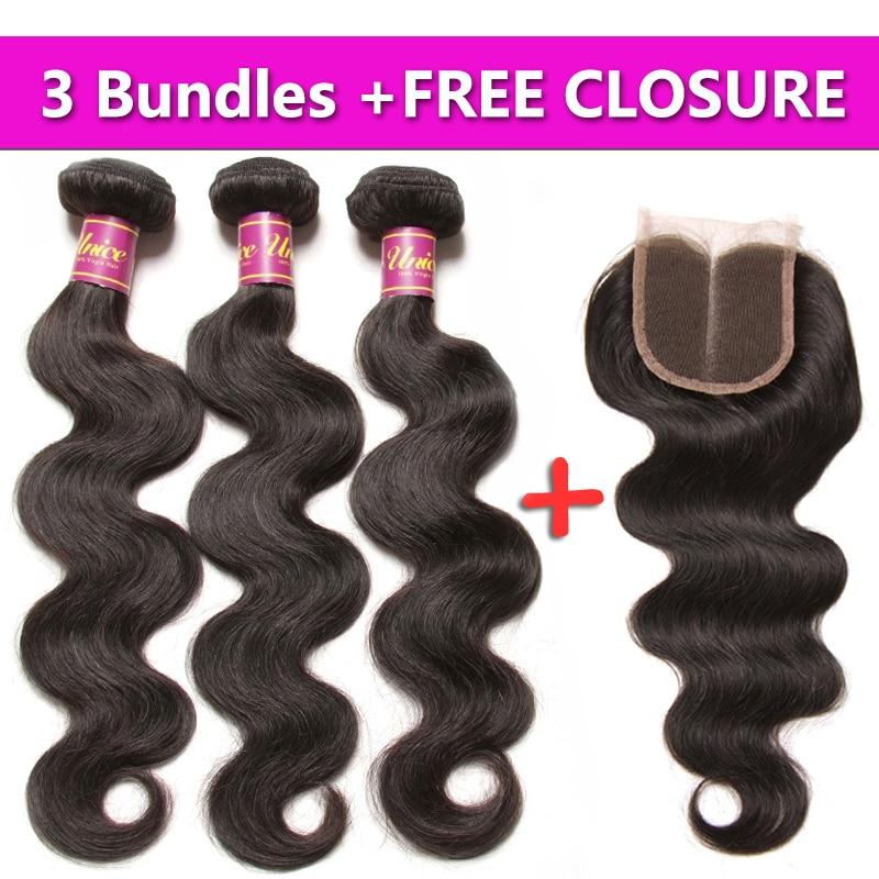 UNICE HAIR-وصلات شعر ماليزية مموجة ، شعر بشري ، لون طبيعي ، 8-30 بوصة ، 3 حزم ، إغلاق مجاني