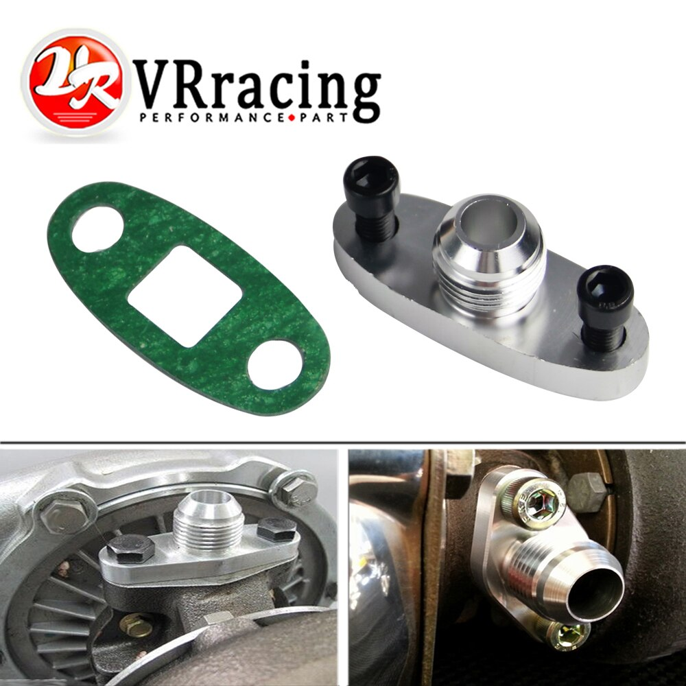 VR - Turbo Oil Drain Flange 10AN GT40 GT42 GT45 GT47 GT55 T3/T4 T3 T4 ODF-01 prata VR-OFG33