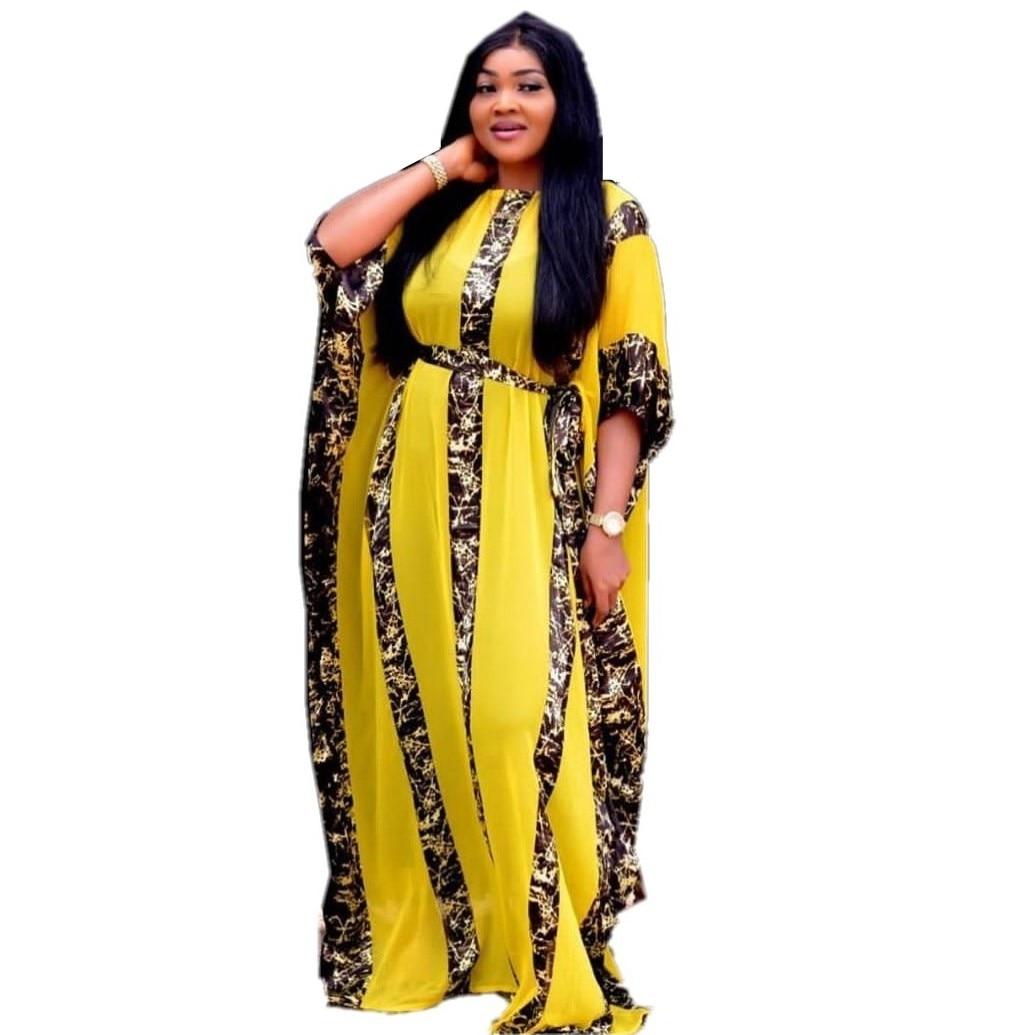 Vestidos africanos para mujeres Dashiki Snake, ropa Rosa africana, Bazin Broder Riche, vestido Sexy delgado con mangas de volantes, vestido de noche largo
