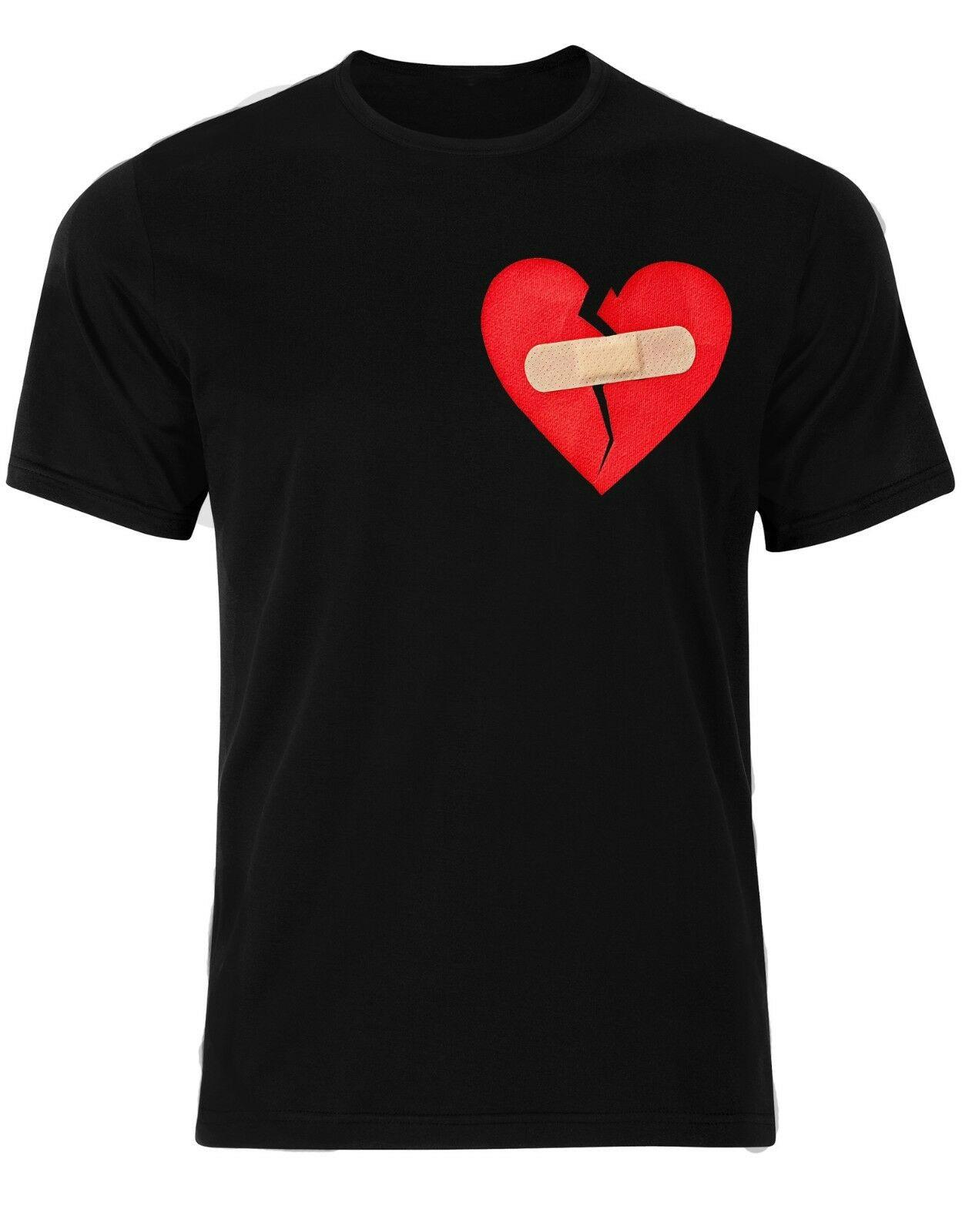 Camiseta de manga corta para hombre Anti San Valentín 14 vida única divertida amor Banda-aid Corazón Roto