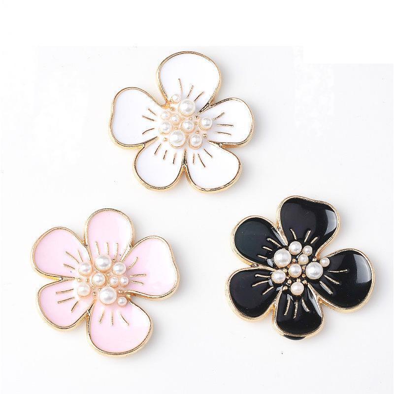 Черный, белый, розовый сплав, жемчужная Цветочная фурнитура для изготовления ювелирных изделий, аксессуары для волос ручной работы, комплек...