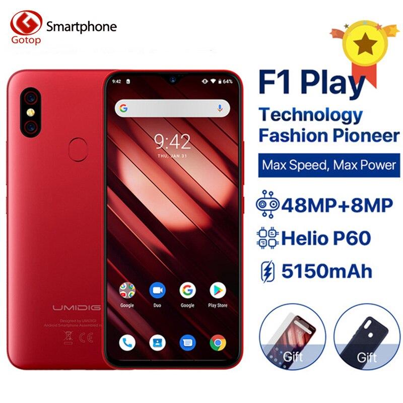 "Umideli F1 Play Android 9,0 teléfono celular 6GB RAM 64GB ROM 48MP + 8MP cámaras teléfono móvil 5150mAh 6,3 ""FHD + Helio P60 4G Smartphone"
