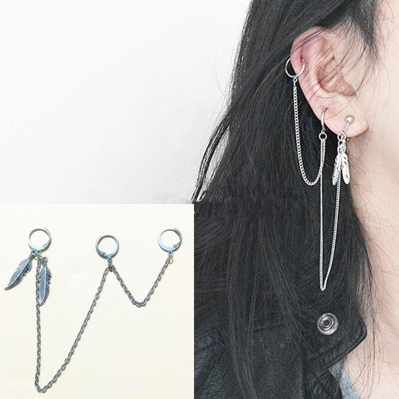 1 ud., pendientes de tres orejas, cadena médica de acero inoxidable, pendientes BTSARMY para hombres y niñas