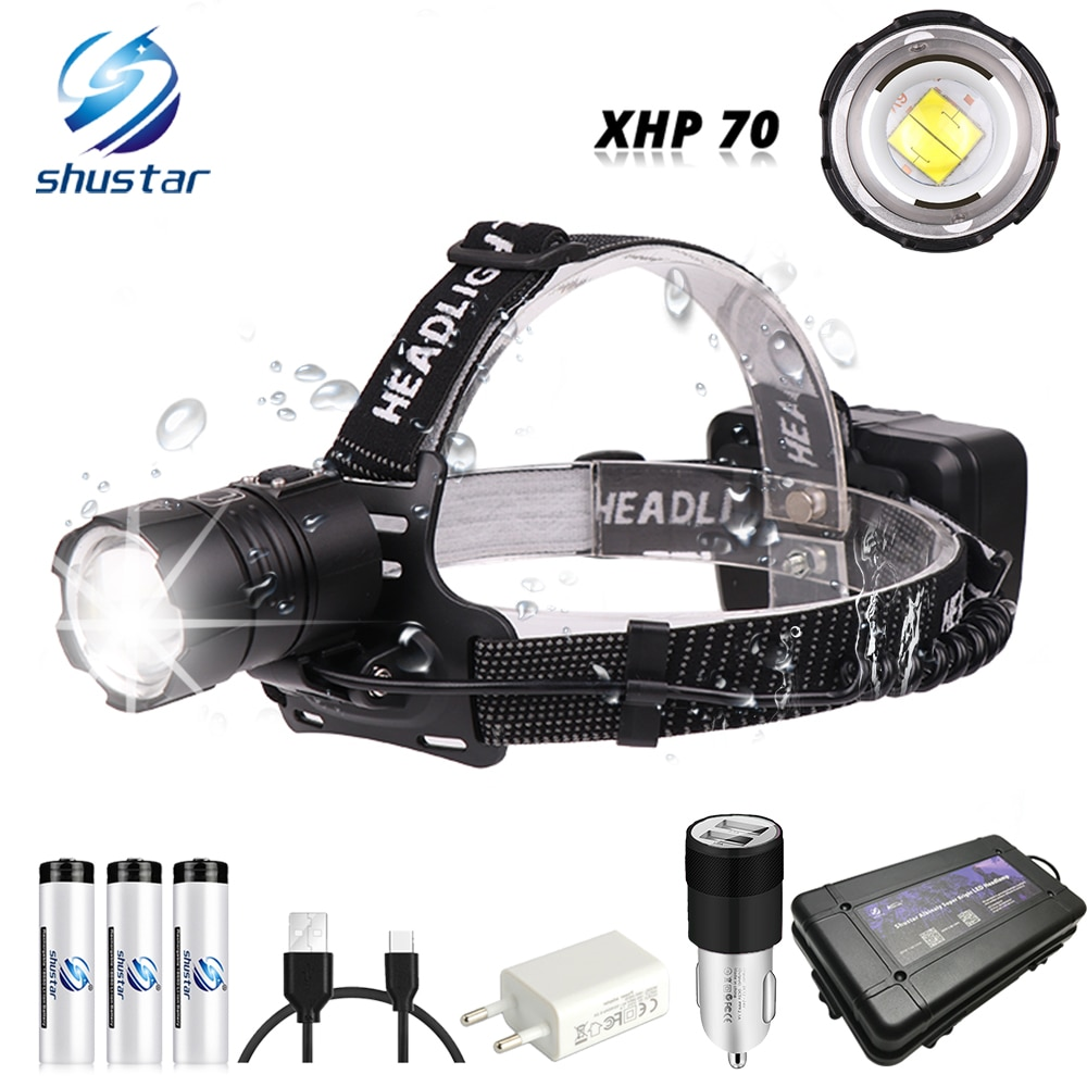 Powerful  XHP70 LED Headlamp Waterproof Headlight Support zoom 3 switch modes Powered by 3 x 18650 batteries for hunting,fishing