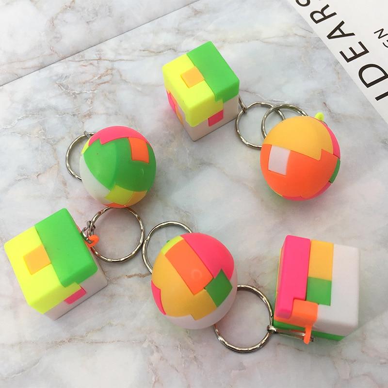 3D rompecabezas llaveros de juguete para niños creativos educativos ensamblar juguetes cuadrado redondo Montessori cubo juguetes de regalo