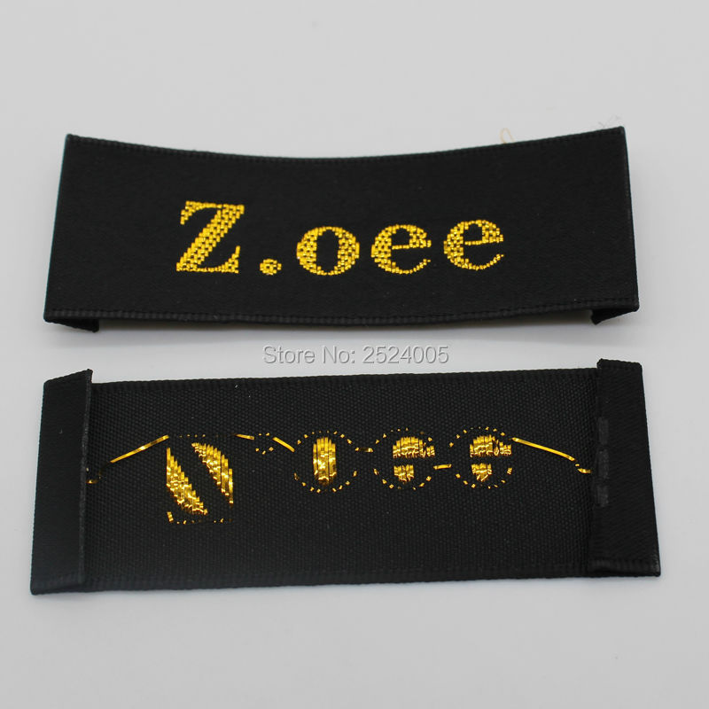Custom garment black satin woven labels with golden fonts/trademark/clothing embroidered tags/printed labels/brand Free Shipping