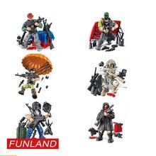 Action moderne figurines militaires PUBG méga soldats minifigs bloc de construction Airdrop paquet Parachute arme briques jouets pour garçons