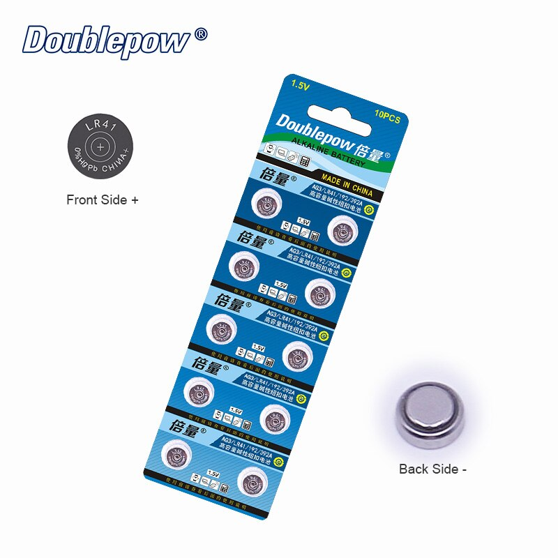 Calidad 10 uds/1 Tarjetas Doublepow DP-LR41 Moneda de 1,5 V Pila de Botón de Litio LR41.AG3.192.392A.L736 OEM es aceptable