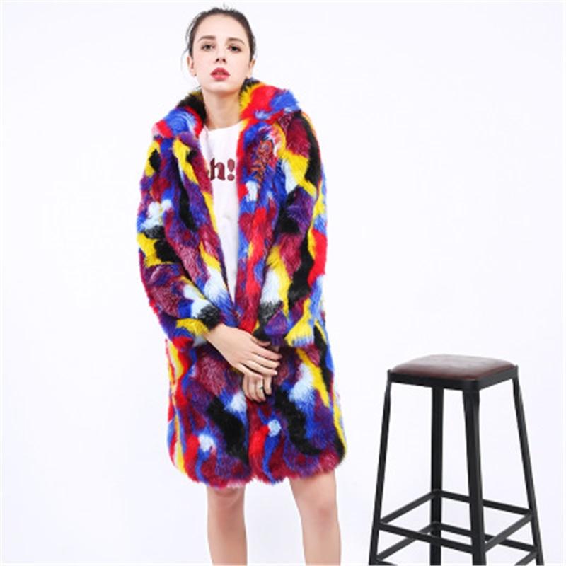 Patchwork Elegant Women's Faux Fur Coat Women Autumn Winter Warm Soft Fur Jacket Female Plush Overcoat Casual OuterwearJ914 недорого