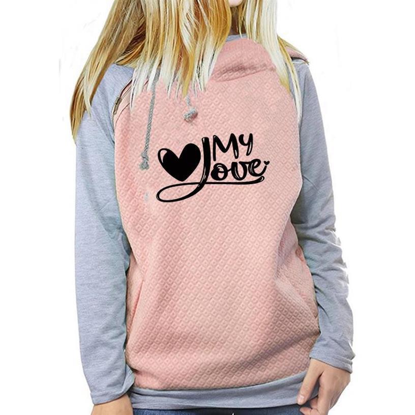 Худи на молнии с украшением для женщин, милое худи с надписью «My Love Heart», женские свитшоты, топы, женские хлопковые худи с забавным принтом