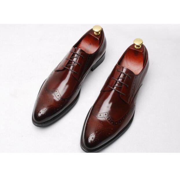 Zapatos derby Oxford de cuero genuino para hombre, zapatos de moda de fiesta para boda 2018, zapatos italianos de alta calidad con cordones para hombre