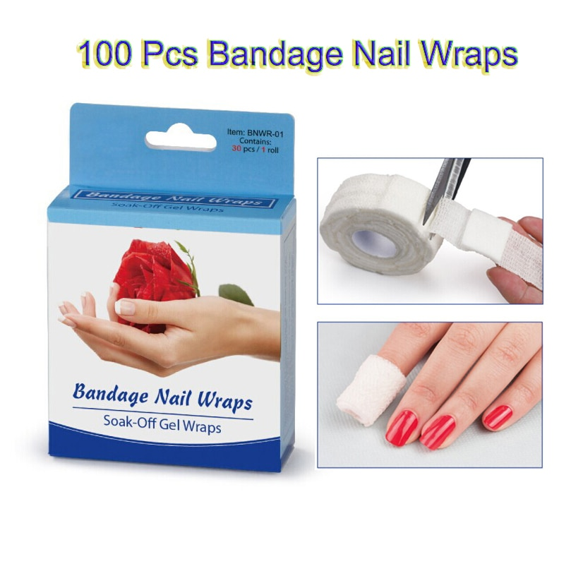 100 Pcs/Lot Bandage Nail Wraps Wrap Nail Polish Polishing Saturate Pad  Adhesive Tape Nail Art Tools Tool Tips F0230XXX