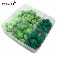 75pcs green series crochet beads wooden baby bracelets and necklace teething nursing toys accories kit