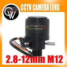 MP HD objectif de caméra de sécurité   1/2.7 pouces 2.8-12mm Varifocal F1.4 M12 monté DC Iris Auto IR CCTV