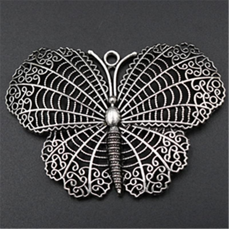 2 uds. Colgante de mariposa grande plateado Retro collares y pendientes DIY Metal joyería artesanal accesorios 65*45mm A574