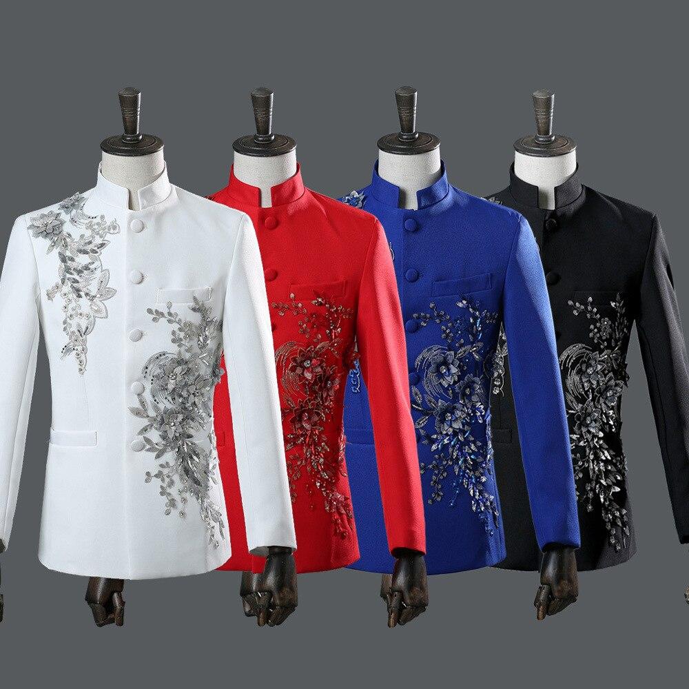 Masculino estilo chinês conjunto terno de palco líder diamante 2 peça ternos masculino casaco calças branco azul vermelho ternos
