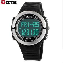 Ots Horloge Mannen Fashion Cool Zwart Led Digitale Horloge Zwemmen Klimmen Outdoor Smart Horloge Man Sport Ots Horloges Kerstcadeau