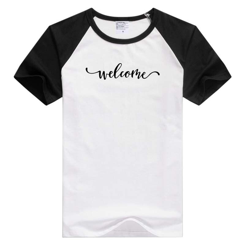 Diferentes Frases divertidas de bienvenida Camiseta de manga corta para hombre color negro hombro panda estilo camisetas de hombro GA015